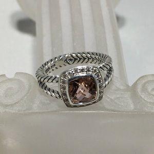 David Yurman Petite Albion Morganite Ring Size 6